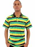 Raw Blue Jamaica Polo Stripe T-Shirt