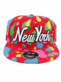 Raw Blue Paint Splash NY New York Flat Peak Snapback Cap Red