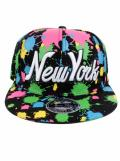 Raw Blue Paint Splash NY New York Flat Peak Snapback Cap Black