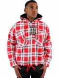 Raw Blue Padded Hooded Red Check Shirts