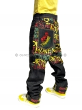 Dirty Money Rasta Lion Peace Jeans