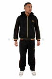 Raw Blue Full Zip Hooded Rasta Tracksuit Black # 3683