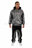 Tough Face Silver Foil Print Baggy Tracksuit
