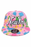Raw Blue Paint Splash NY New York Flat Peak Snapback Cap Pink