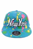 Raw Blue Paint Splash NY New York Flat Peak Snapback Cap Turquoise