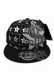 Raw Blue Dollar $ Bling Baseball Flat Peak Snapback Cap Black