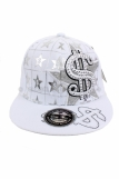 Raw Blue Dollar $ Bling Baseball Flat Peak Snapback Cap White