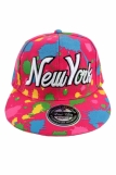 Raw Blue Paint Splash NY New York Flat Peak Snapback Cap D Pink