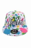 Raw Blue Paint Splash NY New York Flat Peak Snapback Cap White