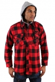 Raw Blue Hooded Red Check Shirts
