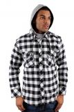 Raw Blue Hooded White Check Shirts