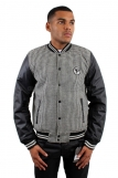 Raw Blue Faux Leather Sleeves Varsity Celtic College Herringbone Jacket