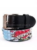 Zeke Tattoo Printed 3 Row Stud Snap on Belt # PF25