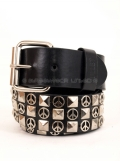 Peace Pyramids 3 Row Stud Snap on Belt # G0002